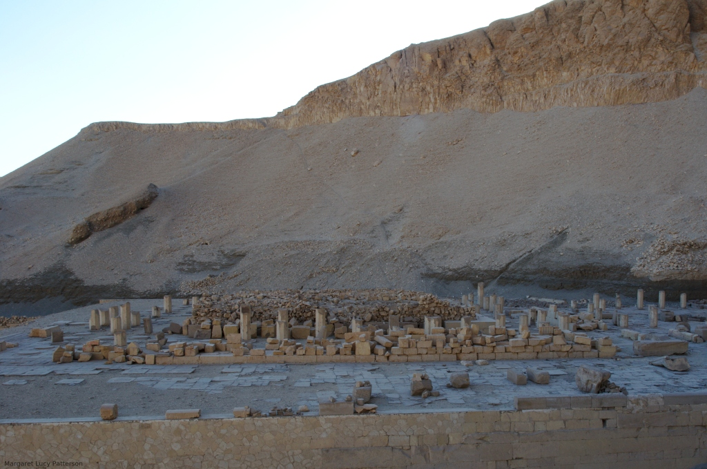 Ruined columns of the temple of Montuhotep II at Deir el Bahri.